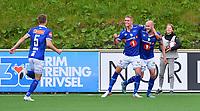 Fotball Menn NM Cup 4.runde Ranheim-Brann<br /> Extra Arena, Ranheim<br /> 26 juni 2019<br /> <br /> Magnus Blakstad (H) har scoret 1-0 for Ranheim og jubler sammen med Ola Selvaag Solbakken. Øyvind Alseth nr 5 kommer løpende til<br /> <br /> <br /> Foto : Arve Johnsen, Digitalsport