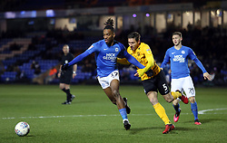Ivan Toney of Peterborough United in action with Mark Milligan of Southend United - Mandatory by-line: Joe Dent/JMP - 11/02/2020 - FOOTBALL - Weston Homes Stadium - Peterborough, England - Peterborough United v Southend United - Sky Bet League One