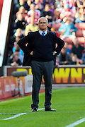 Leicester City Manager Claudio Ranieri during the Barclays Premier League match between Stoke City and Leicester City at the Britannia Stadium, Stoke-on-Trent, England on 19 September 2015. Photo by Aaron Lupton.