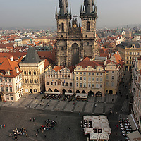 "Another picture taken from the Old Town Hall Tower showing the dominating 80m high Bohemian Gothic architecture with the unusual name ""Church of Our Lady Before Tyn""."