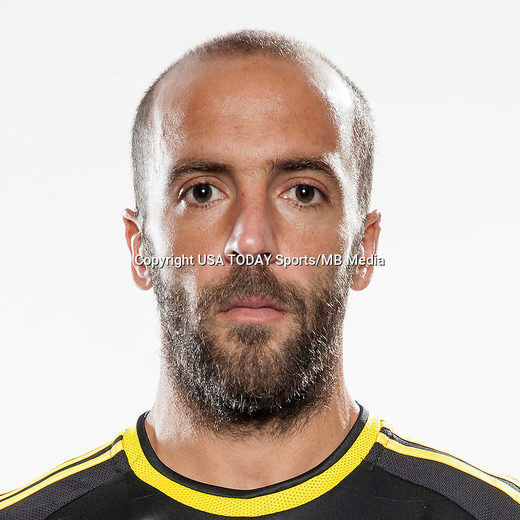 Feb 25, 2016; USA; Columbus Crew player Federico Higuain poses for a photo. Mandatory Credit: USA TODAY Sports