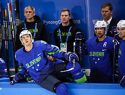 GANGNEUNG, SOUTH KOREA - FEBRUARY 17: Luka Vidmar of Slovenia, Mitja Robar of Slovenia during the ice hockey match between Slovenia and Slovakia in  the Preliminary Round on day eight of the PyeongChang 2018 Winter Olympic Games at Kwangdong Hockey Centre on February 17, 2018 in Gangneung, South Korea. Photo by Kim Jong-man / Sportida
