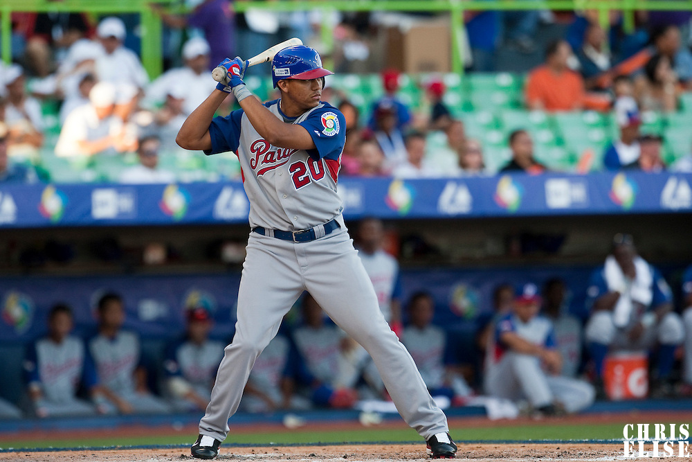 8 March 2009: #20 Concepcion Rodriguez of Panama is seen at bat during the 2009 World Baseball Classic Pool D match at Hiram Bithorn Stadium in San Juan, Puerto Rico. Dominican Republic wins 9-0 over Panama.