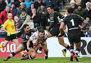 Jake Connor of England dives in to score the try against New Zealand during the Autumn International Series match at the KCOM Stadium, Hull<br /> Picture by Stephen Gaunt/Focus Images Ltd +447904 833202<br /> 27/10/2018