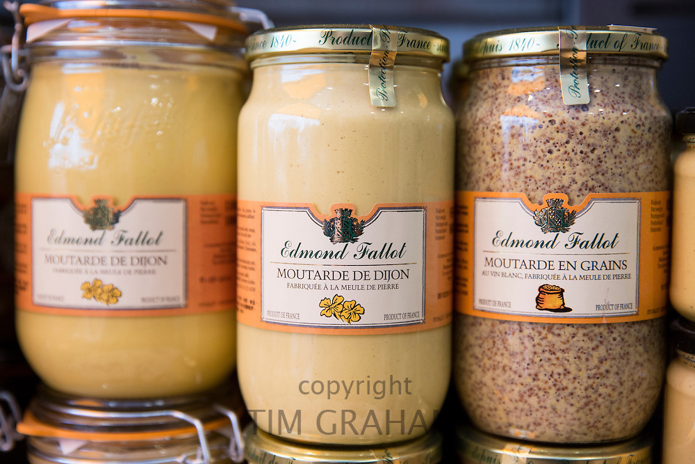 Traditional Dijon mustard regional speciality for sale in La Fabrique Bouchons shop in old town Dijon, the Burgundy region, France
