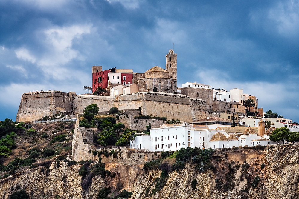 Ibiza Town and the cathedral of Santa Maria d'Eivissa, Balearic Islands, Spain