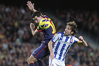 06.01.2013 Barcelona, Spain. La Liga day 18. Picture show Sergio Busquets and Verdu in action during game between FC Barcelona against RCD Espanyol at Camp Nou