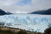 Perito Moreno glacier, drops into Lago Argentino with an 80 meter high vertical wall of ice.