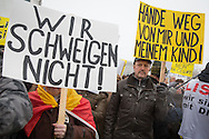 Berlin, Germany - 23.01.2016<br /> <br /> Hundreds of people protested outside the Chancellery in Berlin because of an alleged abduction and rape of a 13 - year old girl. Among the participants were also members of the NPD and other far right-wing groups. According to the police investigation, there was neither abduction nor the rape.<br /> <br /> Hunderte Menschen protestierten vor dem Kanzleramt in Berlin-Mitte wegen einer angeblichen Entfuehrung und Vergewaltigung einer 13-jaehrigen. Unter den Teilnehmern befanden sich auch Mitglieder der NPD und anderer rechtsradikaler Gruppen. Laut Ermittlungen der Polizei Berlin hat es weder die Entfuehrung noch die Vergewaltigung gegeben.<br /> <br /> Photo: Bjoern Kietzmann