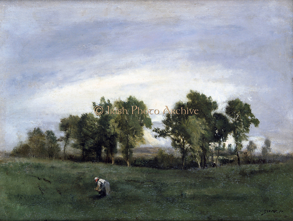 Peasant in a Field': oil on canvas.  Nacisse Diaz de la Pena (1801-1876) French painter.
