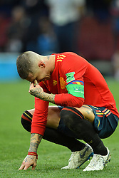 Sergio Ramos dejected after being eliminated of the 2018 FIFA World Cup by the Russia in Moscow, Russia on July 1st, 2018. Photo by Lionel Hahn/ABACAPRESS.COM