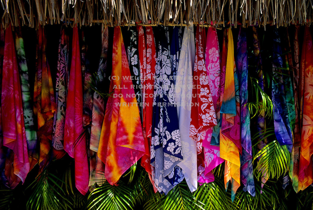 Image of colorful scarves for sale on Bora Bora, Tahiti, French Polynesia