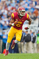 17 October 2012: Wide receiver (2) Robert Woods of the USC Trojans runs a route against the UCLA Bruins during the first half of UCLA's 38-28 victory over USC at the Rose Bowl in Pasadena, CA.