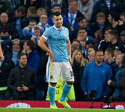 MANCHESTER, ENGLAND - Tuesday, April 12, 2016: Manchester City's looks dejected after missing a penalty kick against Paris Saint-Germain during the UEFA Champions League Quarter-Final 2nd Leg match at the City of Manchester Stadium. (Pic by David Rawcliffe/Propaganda)