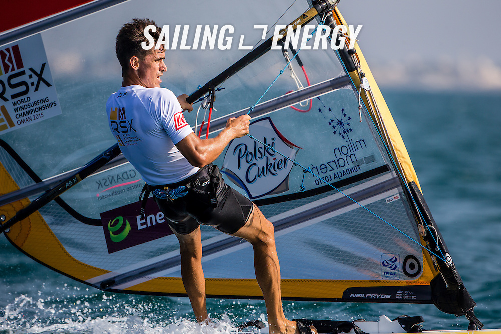 RS:X WORLD CHAMPIONSHIP 2015, October 17th-24th Al Mussanah Sports City, Sultanate. 3rd day of racing, golden fleets 22.10.2015. POL 82 Myszka Piotr<br /> <br /> Credit Jesus Renedo/Oman Sail