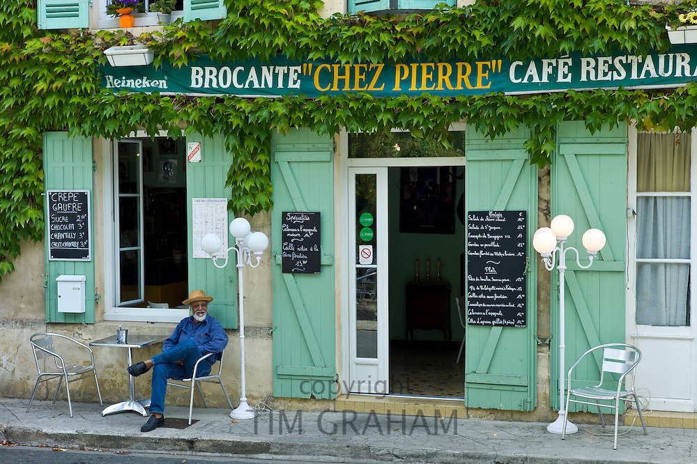 Traditional French Cafe Chez Pierre with menus in town of Castelmoron d'Albret in Bordeaux region, Gironde, France