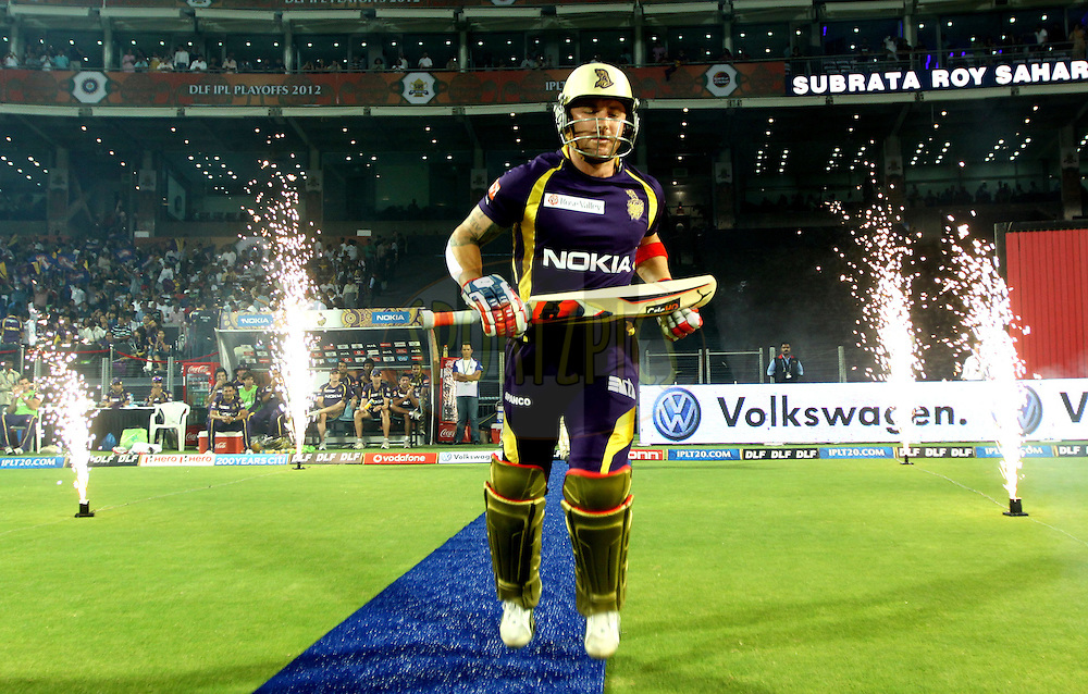 B MC Cullum player of Kolkatta Knight Riders arrives  during the first Qualifying match of the Indian Premier League ( IPL) 2012  between The Delhi Daredevils and The Kolkata Knight Riders held at the Subrata Roy Sahara Stadium, Pune on the 22nd May 2012..Photo by Sandeep Shetty/IPL/SPORTZPICS