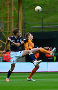 Dave Edwards battles with Jack Powellduring the Sky Bet Championship match between Wolverhampton Wanderers and Millwall at Molineux, Wolverhampton, England on 2 May 2015. Photo by Alan Franklin.