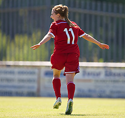 HAVERFORDWEST, WALES - Saturday, June 14, 2014: Wales' Sarah Wiltshire celebrates scoring the only goal against Turkey during the FIFA Women's World Cup Canada 2015 Qualifying Group 6 match at the Bridge Meadow Stadium. (Pic by David Rawcliffe/Propaganda)