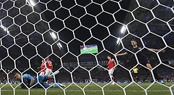 SOCHI, July 7, 2018  Andrej Kramaric (1st R) of Croatia celebrates scoring during the 2018 FIFA World Cup quarter-final match between Russia and Croatia in Sochi, Russia, July 7, 2018. Croatia won 6-5 (4-3 in penalty shootout) and advanced to the semi-finals. (Credit Image: © Cao Can/Xinhua via ZUMA Wire)