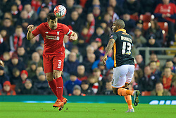 LIVERPOOL, ENGLAND - Wednesday, January 20, 2016: Liverpool's Jose Enrique in action against Exeter City during the FA Cup 3rd Round Replay match at Anfield. (Pic by David Rawcliffe/Propaganda)