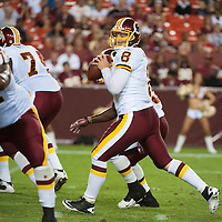 13 August, 2010: Washington Redskins Quarterback REX GROSSMAN (#8) looks to pass the ball in a preseason game against the Buffalo Bills at FedEx Field in Landover, MD.<br /> Mandatory Credit: Rassi Borneo / Southcreek Global