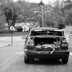 Kyle Green | The Roanoke Times<br /> 10/30/2012 A deer is transported in the trunk of a VW cabriolet on Yellow Mountain Road in Garden City on Tuesday. Many hunters in Virginia supplement their food supply with deer meat.
