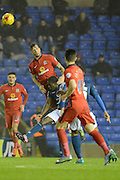 Blackburn Rovers defender Shane Duffy wins a header during the Sky Bet Championship match between Birmingham City and Blackburn Rovers at St Andrews, Birmingham, England on 3 November 2015. Photo by Alan Franklin.