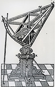 Wooden sextant on stand, used for measuring angular distances between stars. From Tycho Brahe  'Astronomiae instaurate mechanica', 1602.