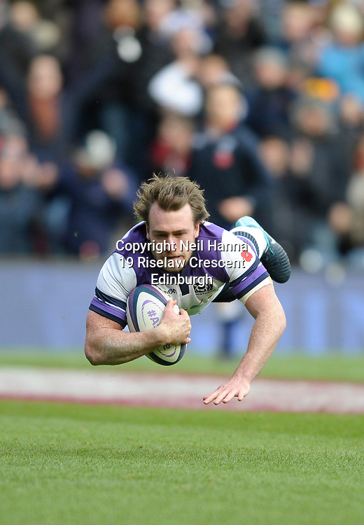 No Sales, Syndication or Archive <br /> Scotland V Samoa<br /> Saturday 11 November 2017<br /> BT Murrayfield <br /> <br /> Stuart Hogg of Scotland scores Scotland's 1st try<br /> <br /> <br />  Neil Hanna Photography<br /> www.neilhannaphotography.co.uk<br /> 07702 246823