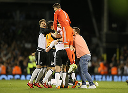Fulham players and fans celebrates after the match - Mandatory by-line: Paul Terry/JMP - 14/05/2018 - FOOTBALL - Craven Cottage - Fulham, England - Fulham v Derby County - Sky Bet Championship Play-off Semi-Final