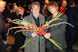 John Hurt; Nick Hurt, Barry Humphries Eat, Pray, Laugh - press night, London Palladium, London UK, 15 November 2013, Photo by Richard Goldschmidt © Licensed to London News Pictures. Photo credit : Richard Goldschmidt/Piqtured/LNP