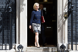 London, July 18th 2017. In a clear demonstration of unity with a cabinet that has seemed to be split over Brexit and other issues,  Government ministers, L-R Chief Secretary to the Treasury Liz Truss and Communities and Local Government Secretary Sajid Javid leave the last cabinet meeting together before the Parliamentary summer recess at Downing Street in London.