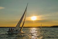Sailing on Lake Winnipesaukee at sunset. Karen Bobotas Photographer