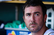 May 18, 2012; Detroit, MI, USA; Detroit Tigers starting pitcher Justin Verlander (35) sits in dugout during the first inning against the Pittsburgh Pirates at Comerica Park. Mandatory Credit: Rick Osentoski-US PRESSWIRE