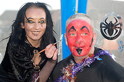 Guinness Northern Counties Housing Associations Godley Street  Scheme Hold a Halloween Street Party face painting  Claire Williams and Johnny Townsend..30 October 2010 .Images © Paul David Drabble