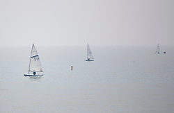 © Licensed to London News Pictures. 22/04/2019. Lancing, UK. Sailing yachts off the coast in Lancing, West Sussex as most of the UK enjoys record breaking high temperatures over the Easter weekend. Photo credit: Peter Macdiarmid/LNP