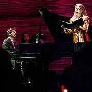 January 14, 2012 - Brooklyn, NY : ..From left, pianist Michael Rose and soprano Deborah van Renterghem perform the work of Charles Ives at the Galapagos Art Space in DUMBO, Brooklyn, on Saturday evening...CREDIT: Karsten Moran for The New York Times