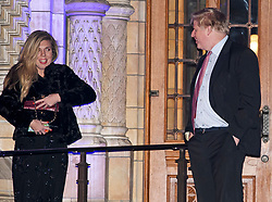 **2018 Pictures of the year by London News Pictures**<br /> © Licensed to London News Pictures. 07/02/2018. London, UK. Director of Communications  for the Conservative party, CARRIE SYMONDS (left) is seen speak to Foreign Secretary BORIS JOHNSON (right) as they leave the Natural History Museum in London following the annual Black and White Ball, a fundraiser held by the Conservative Party. Reports have suggested that Carrie Symonds role at the Conservative party is under pressure because of her closeness to Boris Johnson and Michael Gove. Photo credit: Ben Cawthra/LNP