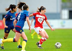 Claire Rafferty applies pressure on Carla Humphrey of Bristol City- Mandatory by-line: Nizaam Jones/JMP - 28/04/2019 - FOOTBALL - Stoke Gifford Stadium - Bristol, England - Bristol City Women v West Ham United Women - FA Women's Super League 1