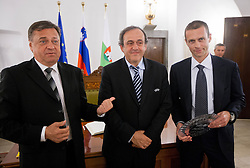 Zoran Jankovic, Mayor of Ljubljana, Michel François Platini, president of Union of European Football Associations (UEFA) and Aleksander Ceferin, president of NZS at visit of M. Platini in Slovenia prior to the UEFA European Under-17 Championship Final match between Germany and Netherlands on May 16, 2012 in City Hall, Ljubljana, Slovenia. (Photo by Vid Ponikvar / Sportida.com)
