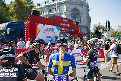 Wiggle High5 Cycling Team riders wait for their turn to sign on for Stage 2 of the Madrid Challenge - a 100.3 km road race, starting and finishing in Madrid on September 16, 2018, in Spain. (Photo by Balint Hamvas/Velofocus.com)
