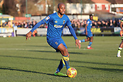 AFC Wimbledon midfielder Jimmy Abdou (8) dribbling during the EFL Sky Bet League 1 match between AFC Wimbledon and Bristol Rovers at the Cherry Red Records Stadium, Kingston, England on 17 February 2018. Picture by Matthew Redman.