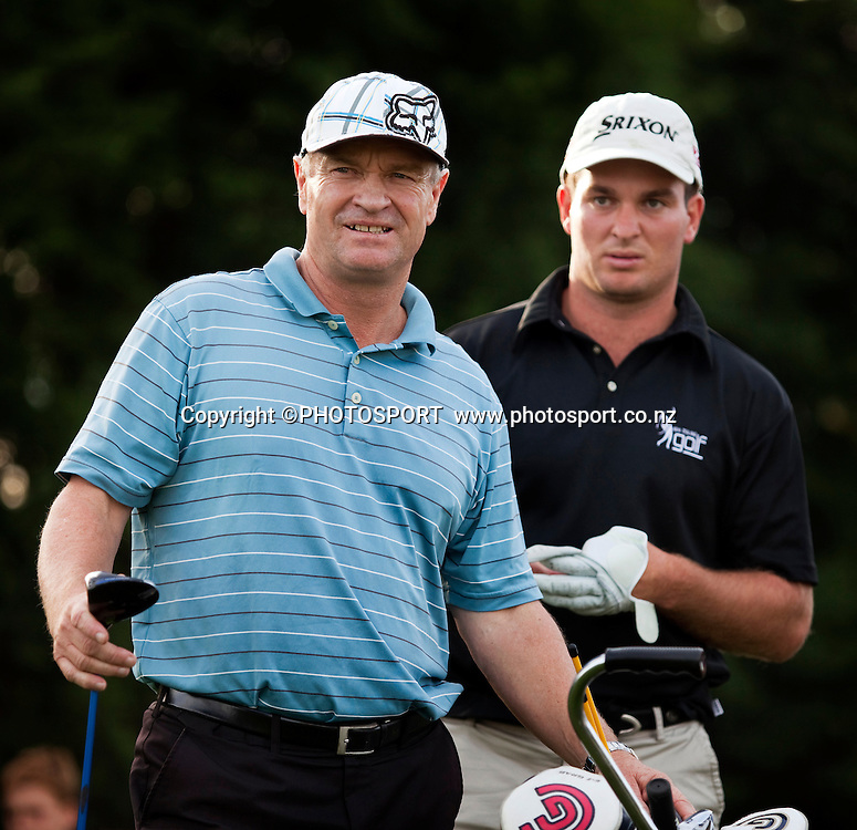 Ryan Fox behind his Caddie and father Grant Fox during the final round of the Lion Foundation New Zealand Amateur Strokeplay Championships. Russley Golf Club, Christchurch, New Zealand. Saturday, 23 April 2011. Joseph Johnson/PHOTOSPORT.