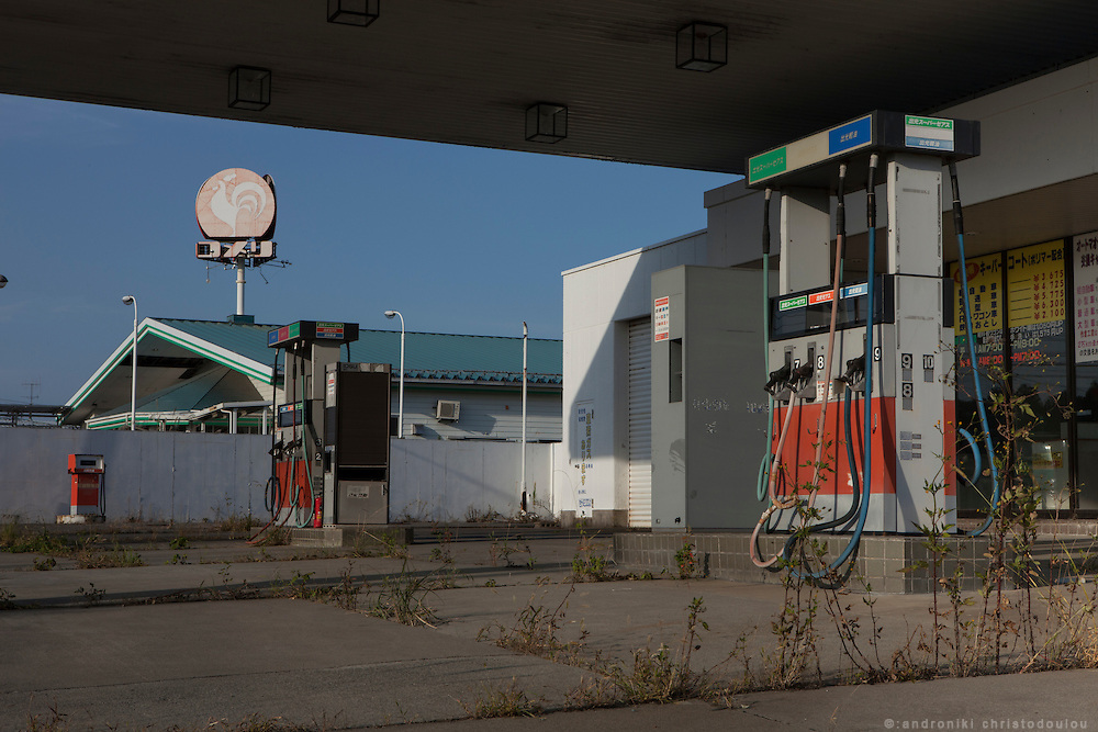 Abandoned gas station in Naraha.