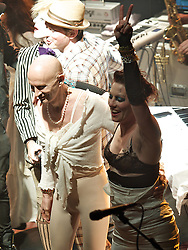 (L) Richard O'Brien singing Time Warp from The Rocky Horror Show with Amanda Palmer during her live performance of her songs from her latest album 'Theatre Evil', KOKO, Camden Town, London, Great Britain, October 23, 2012. Photo by Elliot Franks / i-Images.