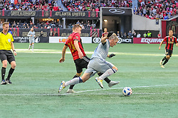 October 21, 2018 - Atlanta, GA, U.S. - ATLANTA, GA - OCTOBER 21: Atlanta United defender Julian Gressel (24) is defended by Chicago Fire midfielder Bastian Schweinsteiger (31) during the MLS game between the Atlanta United and the Chicago Fire on October 21, 2018 at the Mercedes-Benz Stadium in Atlanta, GA. Atlanta United FC secured a place in next year's CONCACAF Champions League with a 2-1 victory against the visiting Chicago Fire. (Photo by John Adams/Icon Sportswire) (Credit Image: © John Adams/Icon SMI via ZUMA Press)