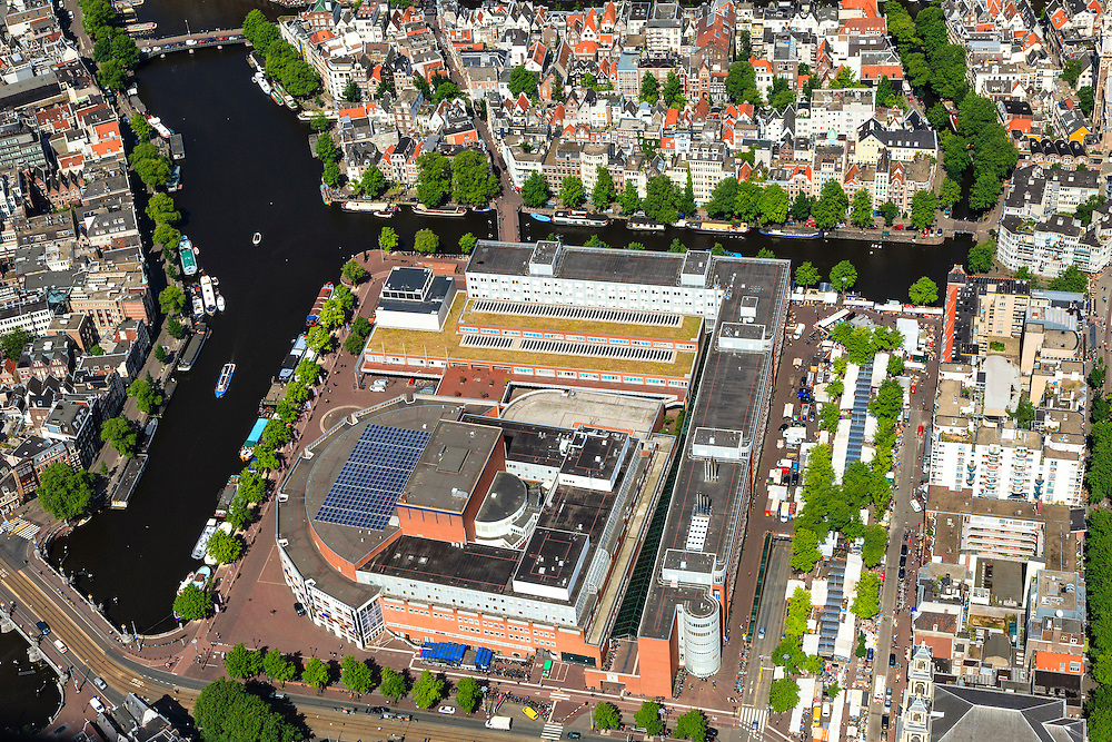 Nederland, Noord-Holland, Amsterdam, 14-06-2012; Stopera, Muziektheater en Stadhuis aan het Waterlooplein. Amstel en Zwanenburgwal..View on the city hall and opera house at the river Amstel, Amsterdam center..luchtfoto (toeslag), aerial photo (additional fee required).foto/photo Siebe Swart