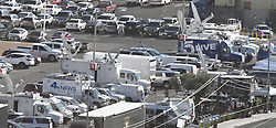 Oct 3,2017. Las Vegas NV. The mass media from around the world covering the Las Vegas shooting Tuesday.  The latest on victims as of Tuesday is still 59 dead, 527 injured last reported Monday night.  The shooting happen during day 3 of the Route 91 Harvest Festival.. Photo by Gene Blevins/ZumaPress. (Credit Image: © Gene Blevins via ZUMA Wire)