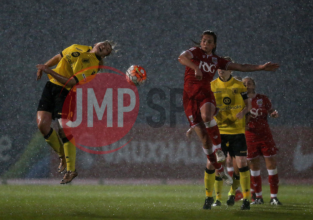 Maddy Cusak of Aston Villa Ladies misses a header in the rain - Mandatory by-line: Robbie Stephenson/JMP - 02/01/2012 - FOOTBALL - Stoke Gifford Stadium - Bristol, England - Bristol City Women v Aston Villa Ladies - FA Women's Super League 2